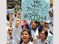 Willes Little Flower School and College students block the Kakrail intersection in the capital on Tuesday, demanding trial in the killing of Suraiya Akhter Risha. — New Age photo