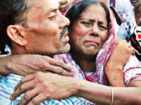 Relatives break down after at least 13 people were killed and many remained missing in a launch capsize in a Barisal river on Wednesday.  — New Age photo