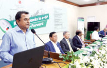Planning minister AHM Mustafa Kamal speaks at a seminar on 'role of banks in e-GP and way-forward' organised by planning ministry in Dhaka on Thursday. — New Age photo