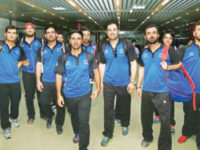 Afghanistan national cricket team players pose for a photograph after their arrival at the Hazrat Shahjajal International Airport on Wednesday. — New Age photo
