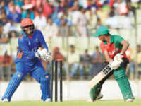 BCB XI batman Mosaddek Hossain is bowled by Afghanistan spinner Mohammad Nabi (not in picture) during their warm-up match at Fatullah on Friday. — New Age photo