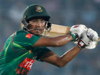 Bangladesh's Mosaddek Hossain plays a shot during the second one-day international cricket match against Afghanistan in Dhaka on Wednesday. — AP photo