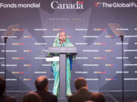 Bangladesh prime minister Sheikh Hasina makes her opening remarks at the official start of the Global Fund conference Friday, September 16, 2016 in Montreal.  – AP photo
