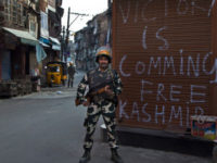An Indian paramilitary soldier stands guard during curfew in Srinagar, Indian controlled Kashmir, Tuesday, September 13, 2016. -- AP photo