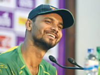 Bangladesh captain Mashrafee bin Murtaza smiles while speaking at a press conference at Mirpur Tuesday ahead of their second one-day international against Afghanistan. — Sourav Losker