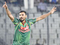 Bangladesh skipper Mashrafee bin Muratza makes an unsuccessful appeal during their first one-day international against Afghanistan at the Sher-e-Bangla National Stadium on Sunday. New Age photo