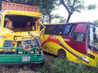 A damaged covered van is seen that hit a bus of Shyamoli Paribahan from behind at Mirsarai in Chittagong on Saturday leaving five people dead. – Focusbangla photo