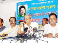 Mirza Fakhrul Islam Alamgir addresses a discussion meeting organised by Jatiyatabadi Ganatantrik Party at Dhaka Reporters' Unity in the capital on Saturday. — New Age photo