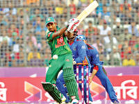 Bangladesh batsman Mosaddek Hossain plays a shot during their second one-day international match against Afghanistan at the Sher-e-Bangla National Stadium on Wednesday. — Sanaul Haque