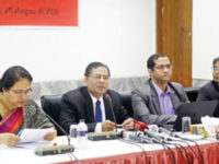 Centre for Policy Dialogue executive director Mustafizur Rahman speaks at a report launching programme in Dhaka on Wednesday. CPD additional research director Khondaker Golam Moazzem was also present, among others. — New Age photo