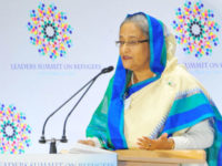 Prime minister Sheikh Hasina addresses the Leaders Summit on Refugees organised at Trusteeship Council Chamber in New York on Tuesday.  — Focusbangla photo