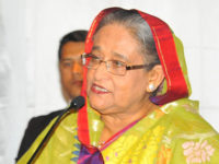 Prime minister Sheikh Hasina addresses a meeting of leaders and activists of greater Washington chapter of Awami League at Ritz Carlton hotel in Virginia on Wednesday. – Focusbangla photo