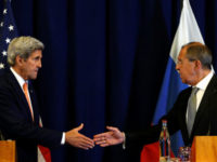 US secretary of state John Kerry and Russian foreign minister Sergei Lavrov (R) shake hands at the conclusion of their news conference following their meeting in Geneva, Switzerland where they discussed the crisis in Syria September 9, 2016. – Reuters photo