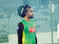 A picture from September 17 shows Bangladesh opener Tamim Iqbal during a practice session at the  Sher-e-Bangla National Stadium. — New Age photo