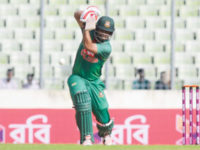 Bangladesh opener Tamim Iqbal drives the ball during their first one-day international match against Afghanistan at the Sher-e-Bangla National Stadium on Sunday. — Sourav Losker