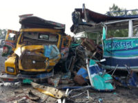 A truck and a bus lie mangled after a head-on collision at Mirzapur in Tangail on September 17 that claimed five lives. – New Age photo