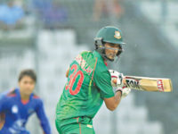 Bangladesh batsman Mahmudullah plays a shot during the first one-day international against Afghanistan at the Sher-e-Bangla National Stadium in Dhaka on Sunday. — AFP photo