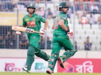 Bangladesh batsmen Tamim Iqbal (R) and Mahmudullah run between the wickets during their first one-day international match against Afghanistan at the Sher-e-Bangla National Stadium on Sunday. — Sourav Losker