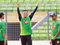 Bangladesh paceman Taskin Ahmed (C), whose ban from bowling in international cricket was lifted by ICC on Friday, shares a light moment with his team-mates during a training session at the Sher-e-Bangla National Stadium on Saturday. — New Age photo