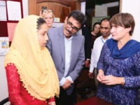 Dutch minister for foreign trade and development cooperation Lilianne Ploumen on Wednesday inspects activities of Unite for Body Rights at Masterbari in Gazipur. — New Age photo