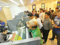 A file photo shows clients conducting banking activities at a branch of a bank in Dhaka. The home ministry has asked Bangladesh Bank to take initiative to set up auto lock system at all branches of the scheduled banks to strengthen the security of the banks. — New Age photo