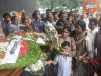Family members of celebrated writer Syed Shamsul Haq pay tribute to his coffin at Central Shaheed Minar in the city on Wednesday. — Saurav Lasker